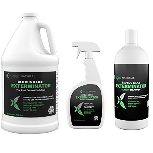 Hygea Natural Exterminator Combo Pack, Non Toxic Treatment, Natural Bugs &  Lice Eradicator, Includes Bed Bug Spray 24 oz, Refill 128 oz & Laundry