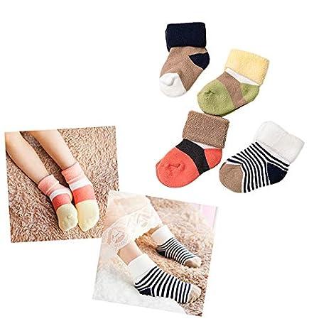 Wansan 4 pairs Anti-slip Toddler Socks Children Socks Assorted Fun Design Colored Socks Antislip