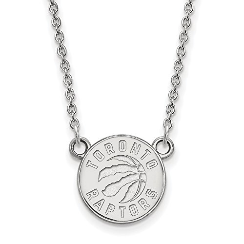 NBA Toronto Raptors Sm Pendant Necklace in 10K White Gold - 18 Inch by LogoArt