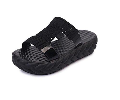 Sandals Sole Womens Flips (Slippers Summer Beach Thick Sandals & Slippers Non-Slip Flip Feet Soft Sole(Black-39/8.5 B(M) US Women))