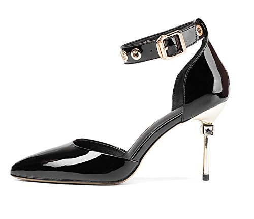 Buckle Sommer Frauen Sandalen hohle Sandalen Frauen wiesen hochhackige Sandalen Frauen Sandalen fein mit Nieten Schnalle Frauensandelholzen Frauen Sandalen Baotou Black