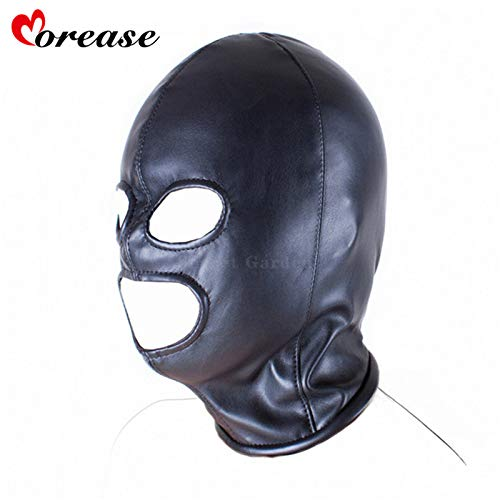 Fetish Mouth Mask Erotic Sex Toy for Female Woman Couple Restraint Sexy Bondage Adult Game PU Leather Hood Mask Black L by Sex Adult Games