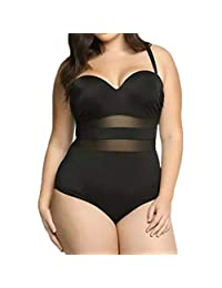 Kehen Plus Size Women One Piece Swimsuit Mesh Ruched Tummy Control Monokini Swimwear