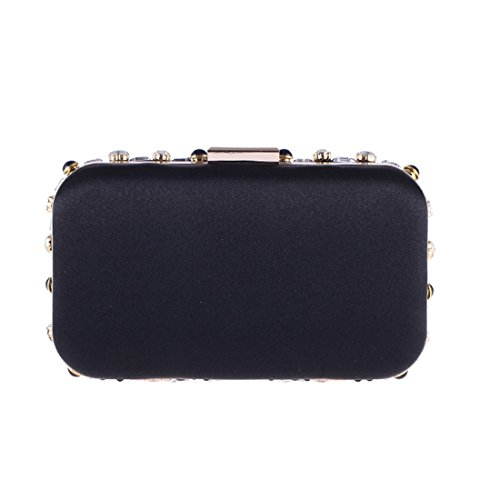 nero Evening Beads Clutch With Party colore Pollusui Banquet Pearls Wedding Bag Nero dvtwq