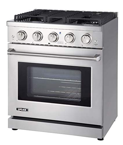 LYCAN Professional Gas Range Cook Top - Heavy Duty Stainless Steel Stove with 4 Burners - 4.55 cu.ft. Kitchen Gas Oven…