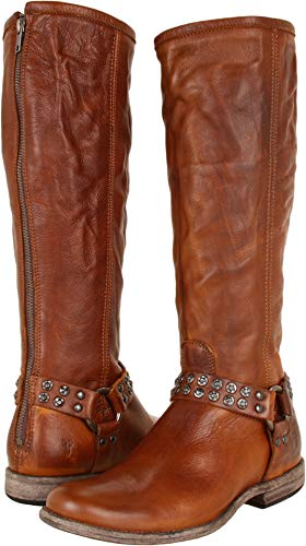 FRYE Women's Phillip Studded Harness Tall Boot, Cognac Soft Vintage Leather, 7.5 M US