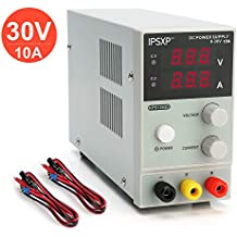 Variable DC Power Supply, IPSXP KPS1203D Adjustable Switching Regulated Power Supply Digital, 0-30 V 0-10 A with Alligator Leads US Power Cord