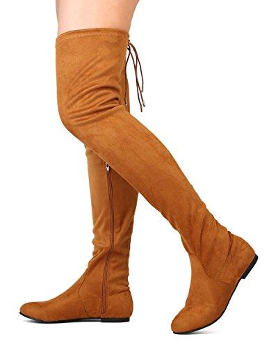 ShoBeautiful Frauen Oberschenkel Hohe Flache Stiefel Stretchy Kordelzug Mode Overknee Stiefel Kamel Wildleder