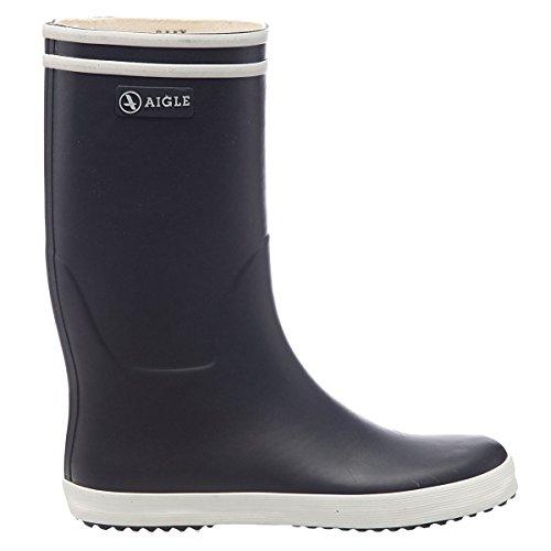 Aigle Rain Boots (Aigle Youth Lolly Pop 84550 Marine Blanc Rubber Boots 38 EU)