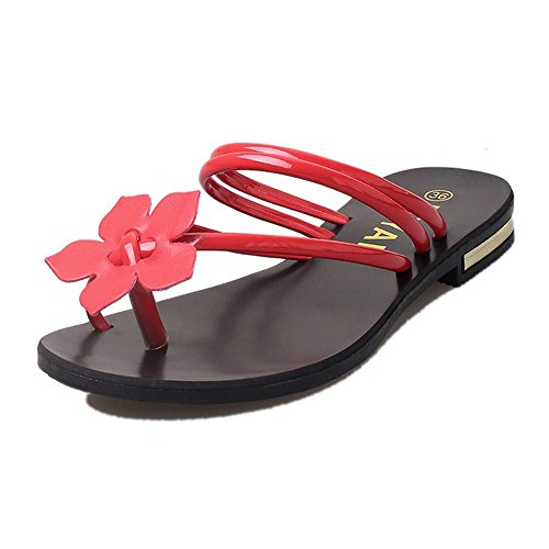 Foutou Weave Sandals Women Bohemia Strip Flower Beach Casual Peep-Toe Flip Flops Shoes Non-slip Slippers Simple (37, Red)