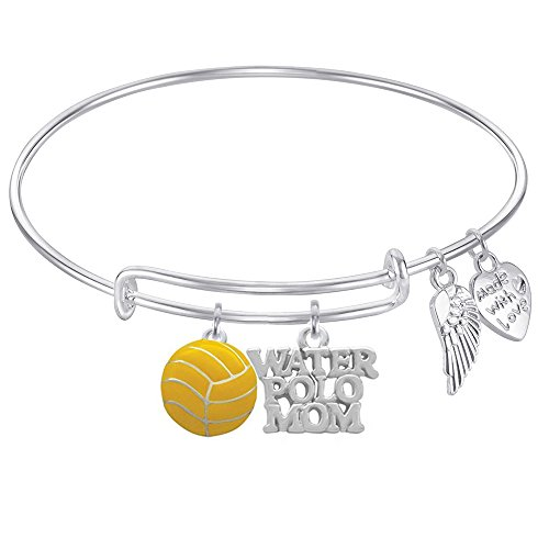 WATER POLO MOM Expandable Wire Bangle Bracelet With gift for Water Polo Ball Charm and Angel Wings Charm GIFT BOXED (Water Polo Charm Bracelet)