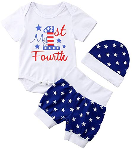 My First 4th of July Newborn Baby Boy Outfits American Flag Summer Romper Pants Independence Day 2PCS Set (Blue, 3-6 Months)