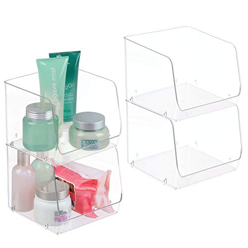 mDesign Large Stackable Plastic Bathroom Storage Organizer Bin Basket with Wide Open Front - for Vanity Countertops, Cabinets, Closets, Under Sinks - Cube - 7.75