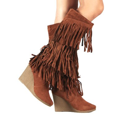 Amazon.com | Womens Faux Suede Fringe Wedge Knee High Heel Boots in Black,  Tan (5.5, Tan) | Knee-High - Amazon.com Womens Faux Suede Fringe Wedge Knee High Heel Boots