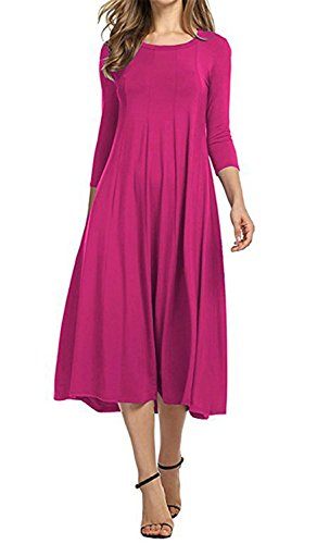 Swing Yamaha (JINGJQINGCAO Chic Womens O-Neck 3/4 Sleeve Knee Length Pleated Swing Cotton Casual Dress Rose3X)