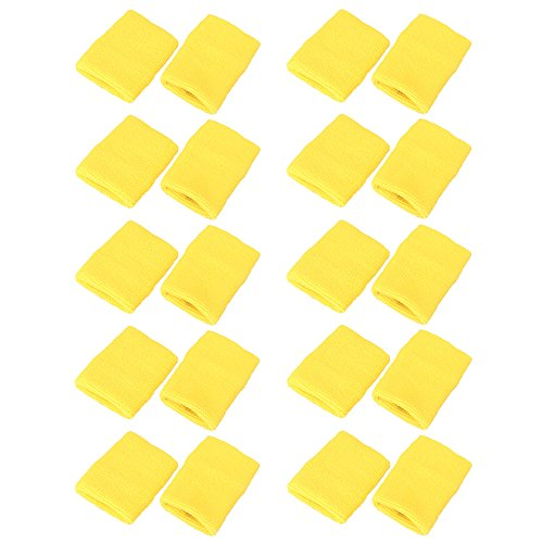 (Mallofusa 10 Pack Colorful Sports Basketball Football Absorbent Wristband Party Outdoor Activity (Yellow))