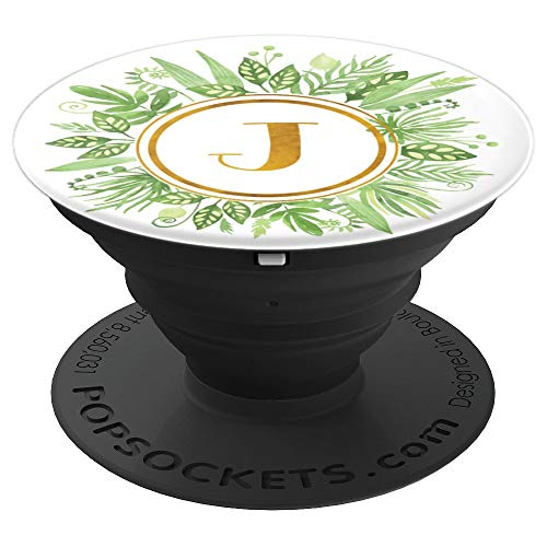 - Green Foliage Wreath Watercolor Monogram Letter J - PopSockets Grip and Stand for Phones and Tablets