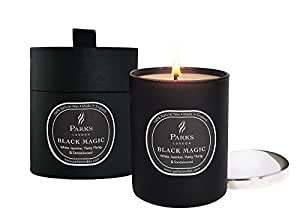 Parks Black Magic - Vela aromática (en portavela de cristal con tapa de níquel, 235 g, en caja regalo, notas de jazmín blanco, Ylang Ylang, sándalo y pachuli), color negro