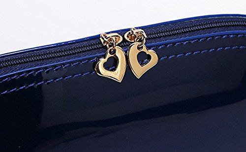 Sac Femmes Couleur bandoulière en Femmes Femmes Solide Sac Téléphone Bleu à Coin Lumineux cuir Zipper Sac à Main Pochette Sac zycShang Sac Surface Sac OBPEq