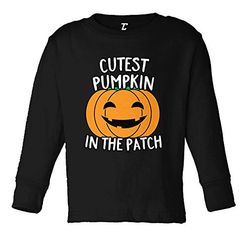 Cutest Pumpkin in The Patch - Halloween Long Sleeve Toddler Cotton Jersey Shirt (Black, 2T) ()