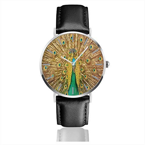 Redline Analog - Beautiful Peacock Mens Watches Leather Bands Chronograph Waterproof Analog Quartz Watch Clock Date Sport Business Wristwatch 38mm/1.5