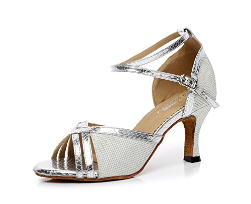 Salsa 5cm High UK2 EU32 Sandals Silver Shoes 5 Samba Modern Dance Jazz JSHOE heeled7 Tea Our33 Shoes Tango Latin Heels Women's qaHg7fwI