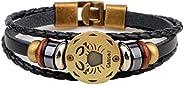Aokbi 2017 New Hot Fashion Bracelet Jewelry Multi-layer 12 Zodiac Signs Constellation Astrology PU Leather Wea