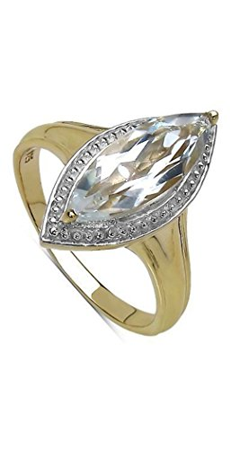Women's Ring 925 Sterling Silver, Gold Plated Genuine Gemstone: Crystal