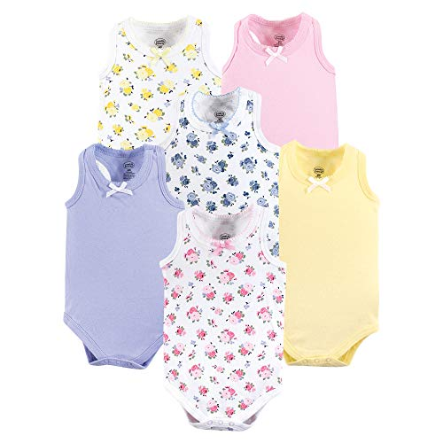 Luvable Friends Unisex Baby Sleeveless Cotton Bodysuits, Floral Pink 6 Pack, 6-9 Months (9M) ()