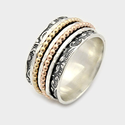 Sterling silver and gold filled 5 piece Spinning Ring