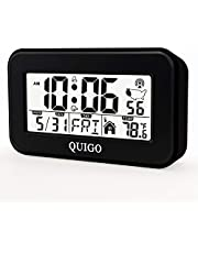 QUIGO Digital Alarm Clock Atomic Bedrooms Kids Desk Table Bedside Heavy Sleepers Kitchen Small Smart Battery Operated Travel Temperature (Black)