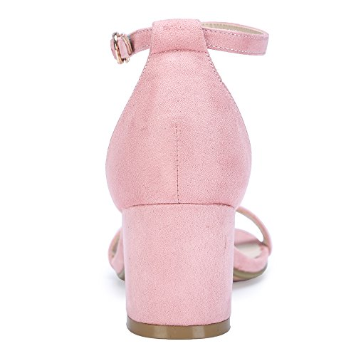 IDIFU Women's Cookie-LO Low Block Heels Chunky Sandals Ankle Strap Wedding Dress Pump Shoes