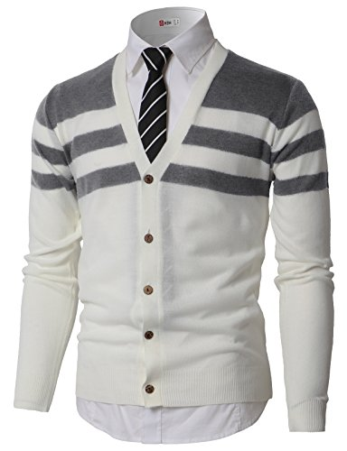 H2H Men's Basic Long Sleeve V-Neck Button Down Knitted Cardigan Sweater Gray US L/Asia XL (KMOCAL0184)