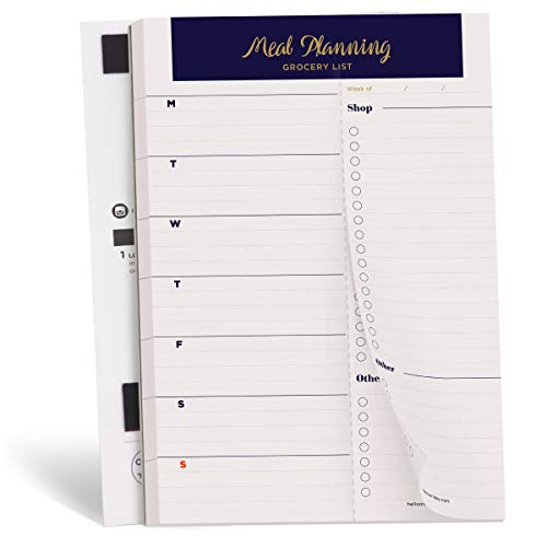 Oriday Weekly Magnetic Meal Planner Notepad with Tear Off Perforated Grocery Shopping List for Your Fridge - 52 Sheets (Navy Gold 6