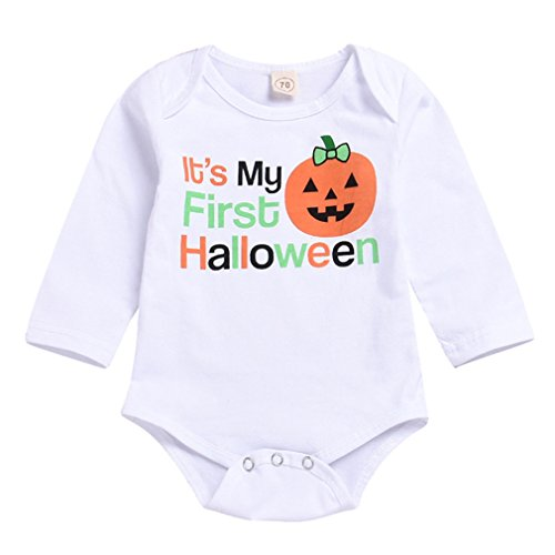 Xmas gift Baby Halloween Costumes Newborn Long Sleeve Romper Baby Girls Boys Clothes My First Halloween Bodysuit (My First Halloween Bodysuit, 0-6 Months/70)