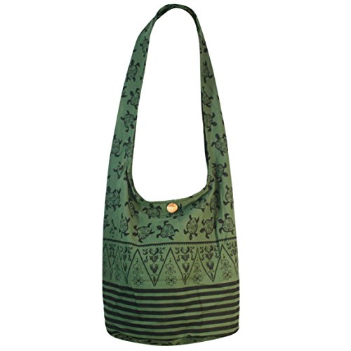 Bag Gypsy Hippie Hobo Sling Cotton Green Shoulder Large Purse Thai Turtle Crossbody Bohemian xBqRznfSqO