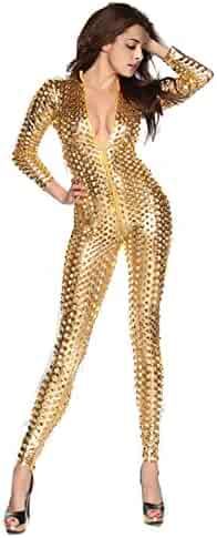 09cba643f73 Fashion Queen One-Piece Scaly Jumpsuit Punk Metallic 3D Hollow Up Catsuit Plus  Size