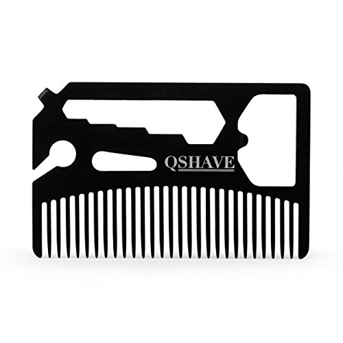 - QSHAVE Multifunctional Utility Credit Card Size Comb Fits in Your Wallet (Comb, Bottle Opener, Wrench, Screw Driver, Knife Blade Breakaway)