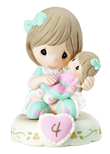 (Precious Moments 152010B Growing In Grace, Age 4 Girl Bisque Porcelain Figurine Brunette)