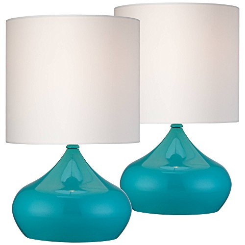 Mid Century Modern Accent Table Lamps 14 3 4 High Set of 2 Teal Blue Steel White Drum Shade for Bedroom Bedside – 360 Lighting