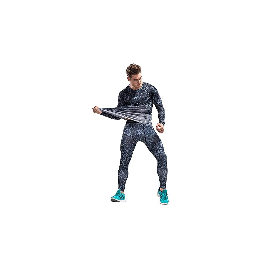 1Bests Men's Outdoor Sports Camouflage Fitness Set Tight Long Sleeved T Shirt + Pants