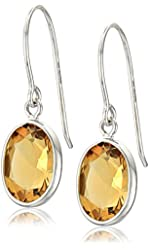 14k White Gold Contemporary Bezel Set Design Oval Citrine Drop Earrings