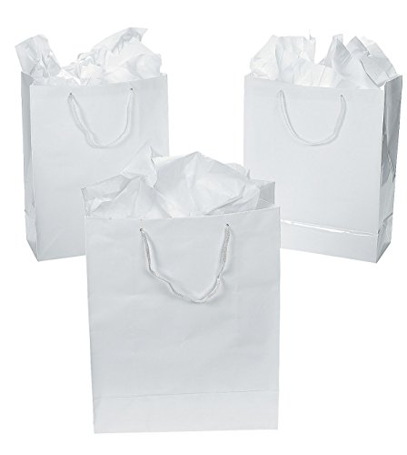 Large White Gift Bags (1 Dozen) - Bulk [Toy] by Fun Express Dozen Bag