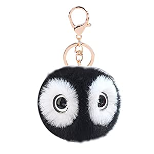 Cute Fur Ball Keychain,Car Handbag Pendant Pom Pom Key Ring Chain for Women Girl Gifts