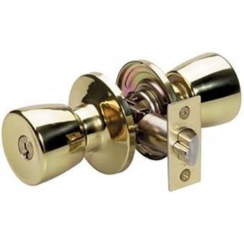 Master Lock TUMOB103 Tulip Keyed Entry Mobile Home Door Knob, Polished Brass