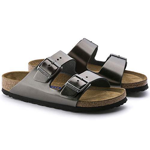 Birkenstock Women's Arizona 2 Strap Soft Cork Footbed Sandal Anthracite 40 M EU ()