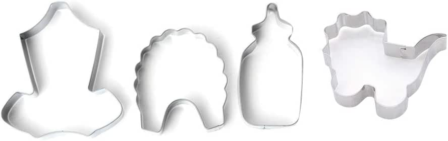 Hongma - 4 moldes para galletas con forma de botella, babero, camisa para bebé, cochecito, hornear, cocina, decoración para tartas: Amazon.es: Hogar