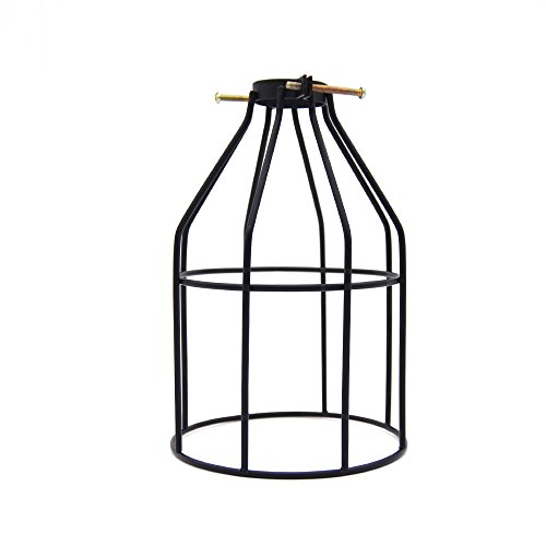 Lamp Guard, Frideko Vintage Industrial Black Metal Birdcage Lamp Shade Cover for Loft Ceiling Pendant/Wall Light (Type A)