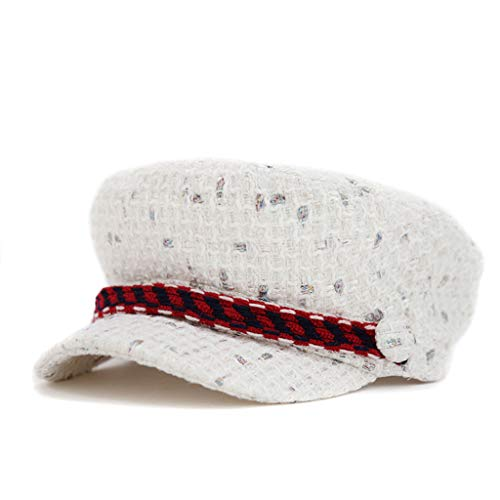 615a1170ae ZDD Autumn and Winter Korean Retro English Tweed Shell hat (Color : White,  Size : 56-58cm)