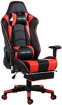 Storm Racer Grande Taille Racing Chaise de Gaming Dossier Haut Siège et Réglable Repose-pied Avec Têtière Support Lombaire Flexible Idéal Pour Chaise (rouge)